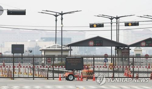 This photo shows a gate of the U.S. base Camp Humphreys in Pyeongtaek, about 70 kilometers south of Seoul. (Yonhap)