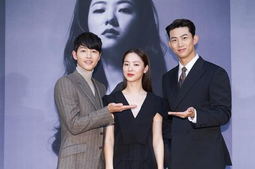 "This photo provided by tvN shows Song Joong-ki (L), Jeon Yeo-been (C) and Ok Taekyeon in a press conference for ""Vincenzo"" on Feb. 15, 2021. (PHOTO NOT FOR SALE) (Yonhap)"