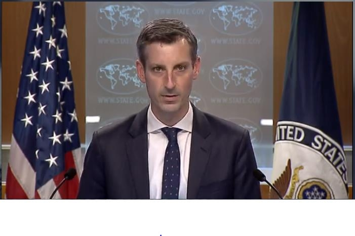 The captured image from the website of the U.S. State Department shows department spokesman Ned Price speaking in a press briefing at the State Department in Washington on Feb. 23, 2021. (Yonhap)