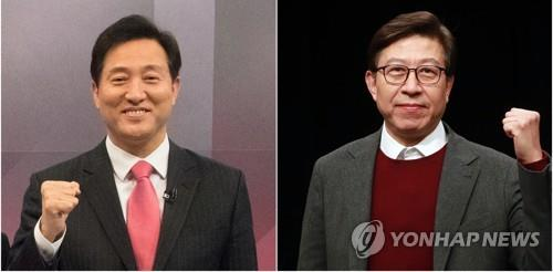 These photos show Oh Se-hoon (L) and Park Hyung-jun, who were selected on March 4, 2021, as the main opposition People Power Party's candidates for the Seoul and Busan mayoral by-elections, respectively, set for April 7. (Yonhap)