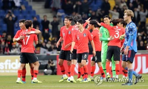 In this file photo from Dec. 18, 2019, South Korean players (in red) celebrate their 1-0 victory over Japan in the final of the East Asian Football Federation (EAFF) E-1 Football Championship at the Busan Asiad Main Stadium in Busan, 450 kilometers southeast of Seoul. (Yonhap)