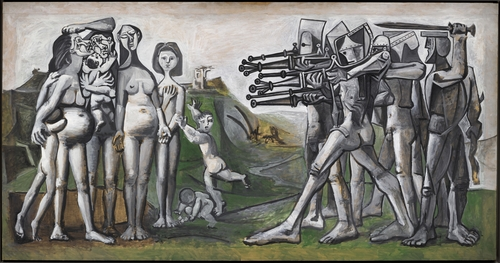 "This image, provided by Vichae Art Museum on March 29, 2021, shows ""Massacre in Korea"" by Pable Picasso, which will be displayed in an exhibition in South Korea for the first time from May 1 to August 29. (PHOTO NOT FOR SALE) (Yonhap)"