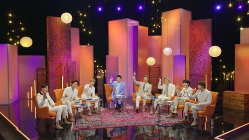 "This photo provided by KBS shows BTS appearing on ""Let's BTS"" on March 29, 2021. (PHOTO NOT FOR SALE) (Yonhap)"