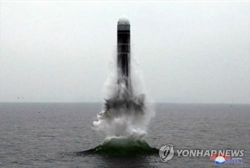 This photo, released by North Korea's official Korean Central News Agency on Oct. 3, 2019, shows the North's testing of a submarine launched ballistic missile. (For Use Only in the Republic of Korea. No Redistribution) (Yonhap)
