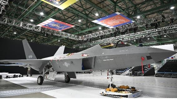 This photo, taken April 6, 2021, and provided by the arms procurement agency, shows a prototype of South Korea's first indigenous fighter jet, the KF-X. (PHOTO NOT FOR SALE) (Yonhap)