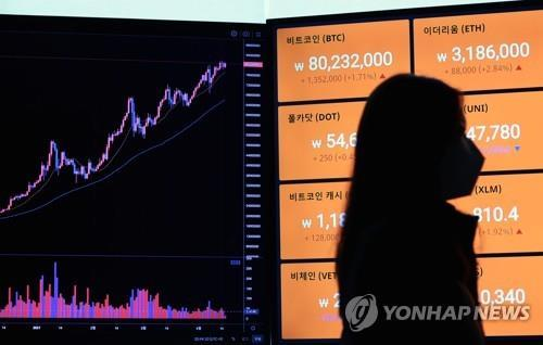 This file photo shows signboards tracking price movements of bitcoin and other virtual currencies on a local exchange. (Yonhap)