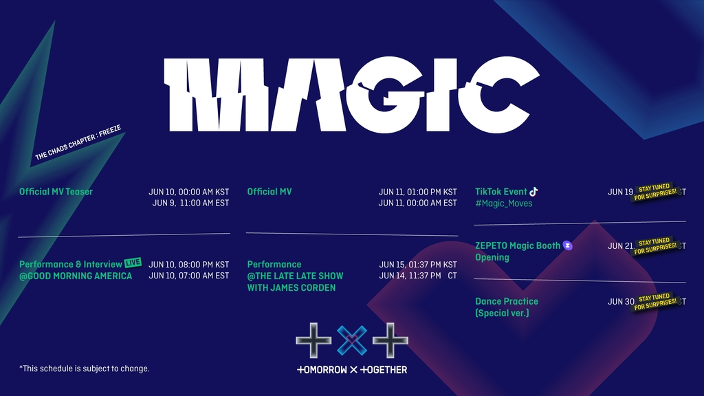 """This photo, provided by Big Hit Music on June 7, 2021, shows the promotional schedule for K-pop boy band Tomorrow X Together (TXT)'s first English-language song """"Magic."""" (PHOTO NOT FOR SALE) (Yonhap)"""