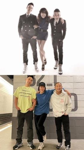 These photos, provided by Almighty Records, shows soloist Baek Ji-young (C) and male duo Mighty Mouth. (PHOTO NOT FOR SALE) (Yonhap)