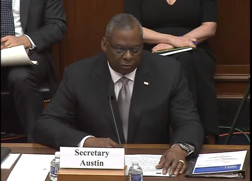 The captured image shows U.S. Defense Secretary Lloyd Austin delivering opening remarks in a House Armed Services Committee hearing on the defense budget in Washington on June 23, 2021. (Yonhap)