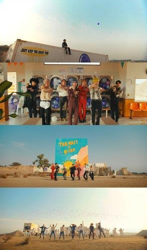 """This compilation image, provided by Big Hit Music, shows images from BTS' new music video """"Permission to Dance"""" released on July 9, 2021. (PHOTO NOT FOR SALE) (Yonhap)"""