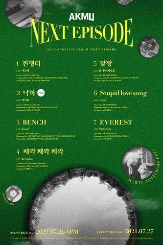 """This image, provided by YG Entertainment, shows the tracklist for AKMU's upcoming album """"New Episode."""" (PHOTO NOT FOR SALE) (Yonhap)"""