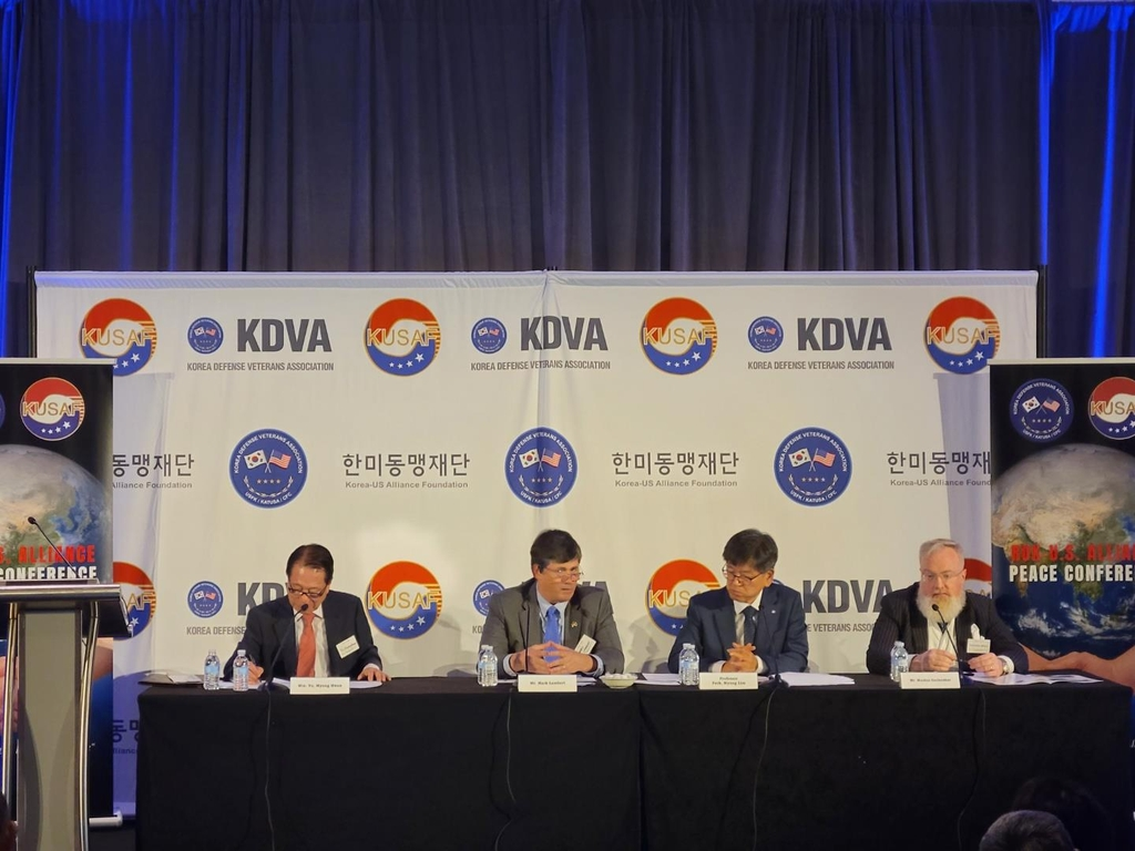 Mark Lambert (second from L), former U.S. special envoy for North Korea who has been tapped to become deputy assistant secretary of state for Korea and Japan, speaks at a peace conference hosted by the Korea Defense Veterans Association and Korea-U.S. Alliance Foundation in Washington on July 28, 2021. (Yonhap)