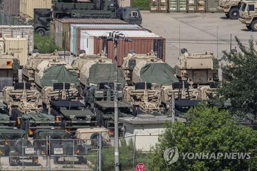 This file photo, taken on Aug. 5, 2021, shows military vehicles parked at Camp Casey in the city of Dongducheon, Gyeonggi Province. (Yonhap)