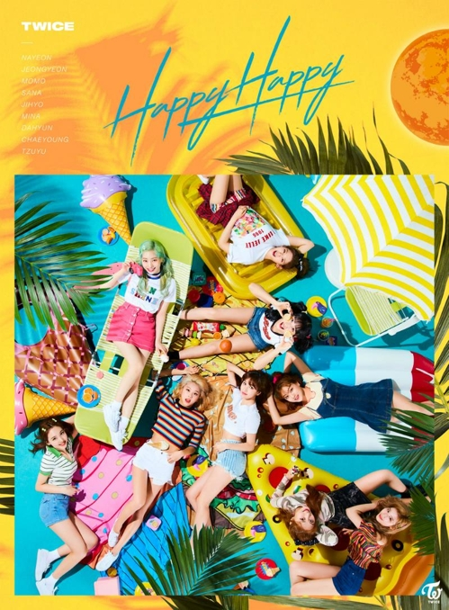 Le quatrième single en japonais de TWICE, «Happy Happy». (Photo fournie par JYP Entertainment. Archivage et revente interdits)