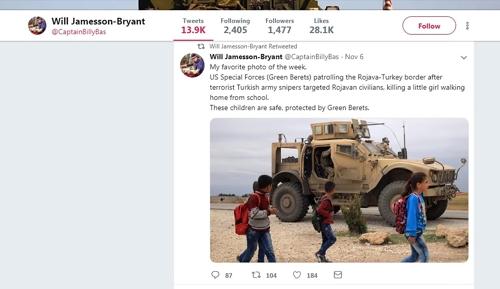 국제동맹군 대변인이 리트윗한 게시물