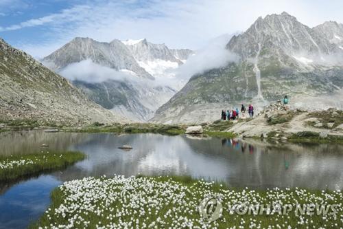 스위스 북동부에 있는 알프스 산맥 최대의 빙하 '알레치'. 연합DB