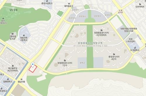 창원 거점형 육아종합지원센터 위치도. (붉은 사각형)