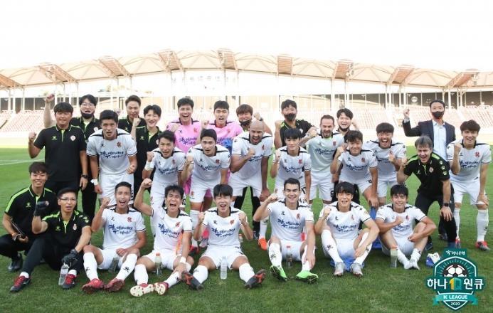 창립 첫 파이널 A 진출을 이룬 광주 FC 선수단.