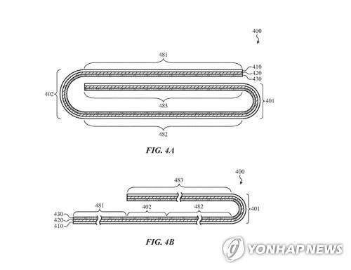 애플이 2019년 미국 특허청에 제출한 '폴더블 디스플레이' 특허 관련 일부 도안. [미국 특허청 홈페이지 캡처]
