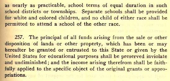 '백인과 유색인종은 각각 별도의 학교에 다녀야 하며, 다른 인종의 학교에 다녀서는 안 된다'라고 적힌 앨라배마주 헌법 256조. [앨라배마 역사보존국 홈페이지 캡처. 재판매 및 DB금지]