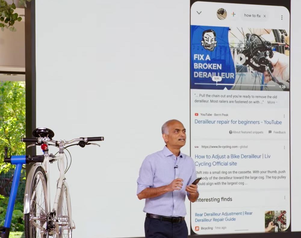 29일 구글의 '서치 온' 행사에서 발표자가 구글 렌즈를 이용해 자전거의 변속 장치를 촬영한 뒤 '이걸 어떻게 고칠까'라고 입력하자 나온 검색 결과 창. [구글 제공=연합뉴스. 재배부 및 DB 금지]