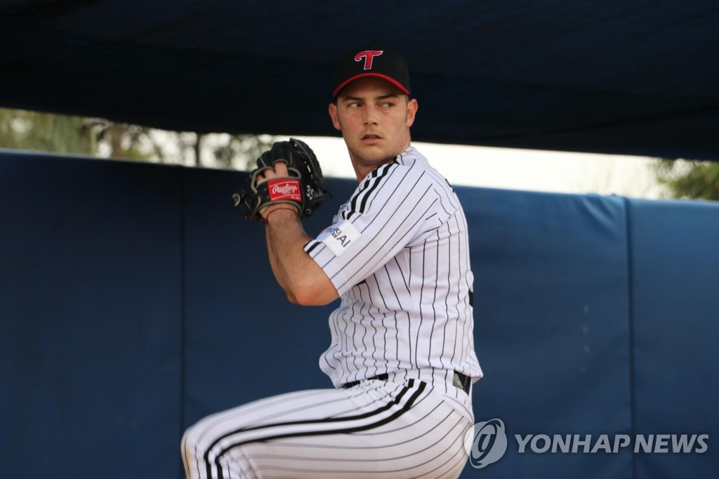 In this Feb. 8, 2019, file photo provided by the LG Twins, Tyler Wilson throws a pitch during the team's spring training in Okinawa, Japan. (Yonhap)