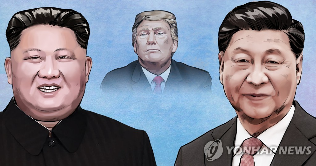 This image shows (from L to R) North Korean leader Kim Jong-un, U.S. President Donald Trump and Chinese President Xi Jinping. (Yonhap)