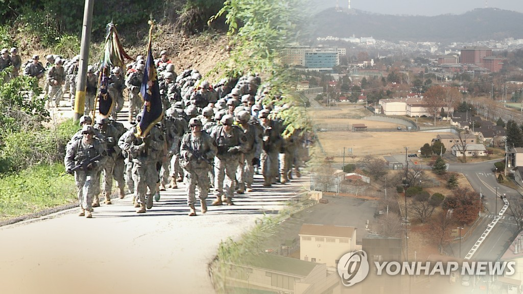 A combined image of U.S. troops and their bases in South Korea, in this photo provided by Yonhap News TV. (PHOTO NOT FOR SALE) (Yonhap)