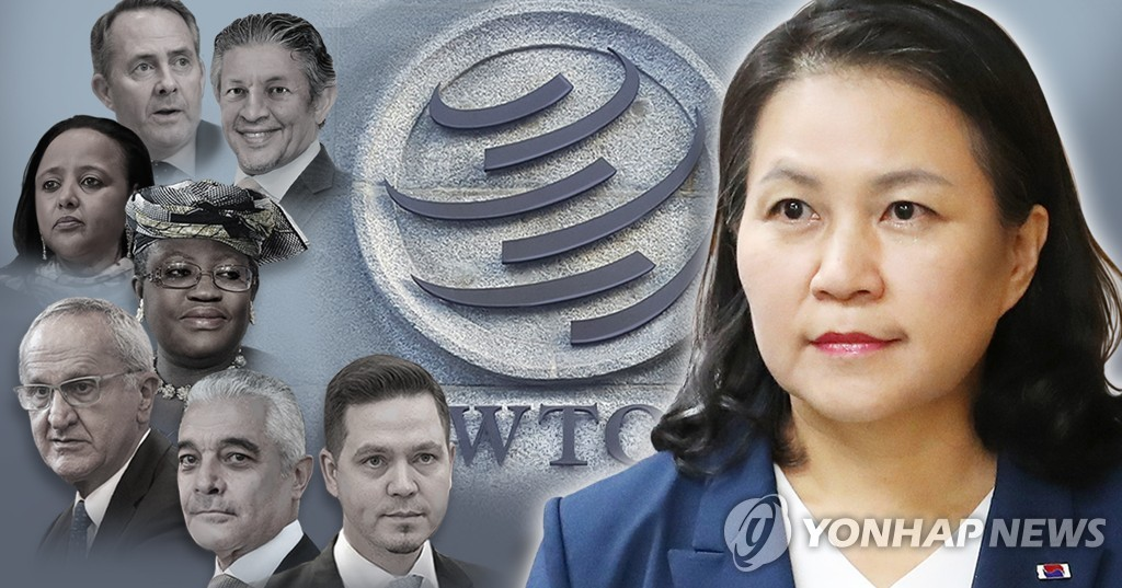 This image shows the eight candidates for the director-general of the World Trade Organization. (Yonhap)