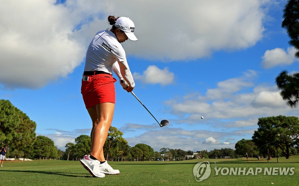 In this Getty Images photo, Kim Sei-young of South Korea tees off on the 13th hole during the final round of the Pelican Women's Championship at Pelican Golf Club in Belleair, Florida, on Nov. 22, 2020. (Yonhap)