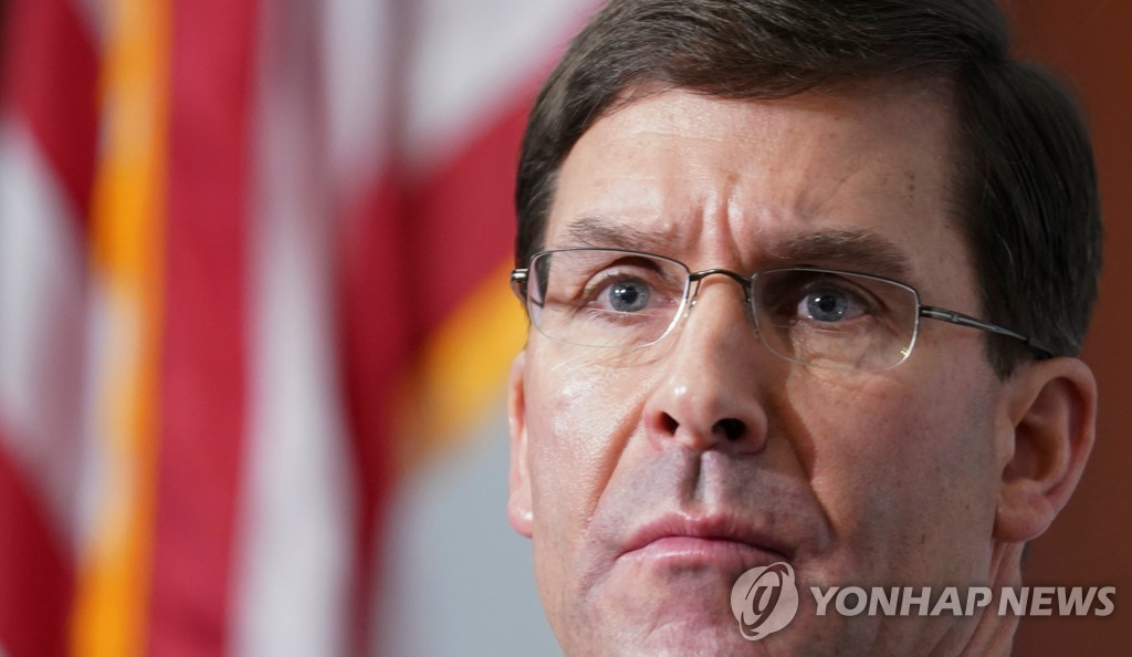 This Reuters photo shows U.S. Secretary of Defense Mark Esper listening to a question during a seminar at the Center for Strategic and International Studies in Washington on Jan. 24, 2020. (Yonhap)
