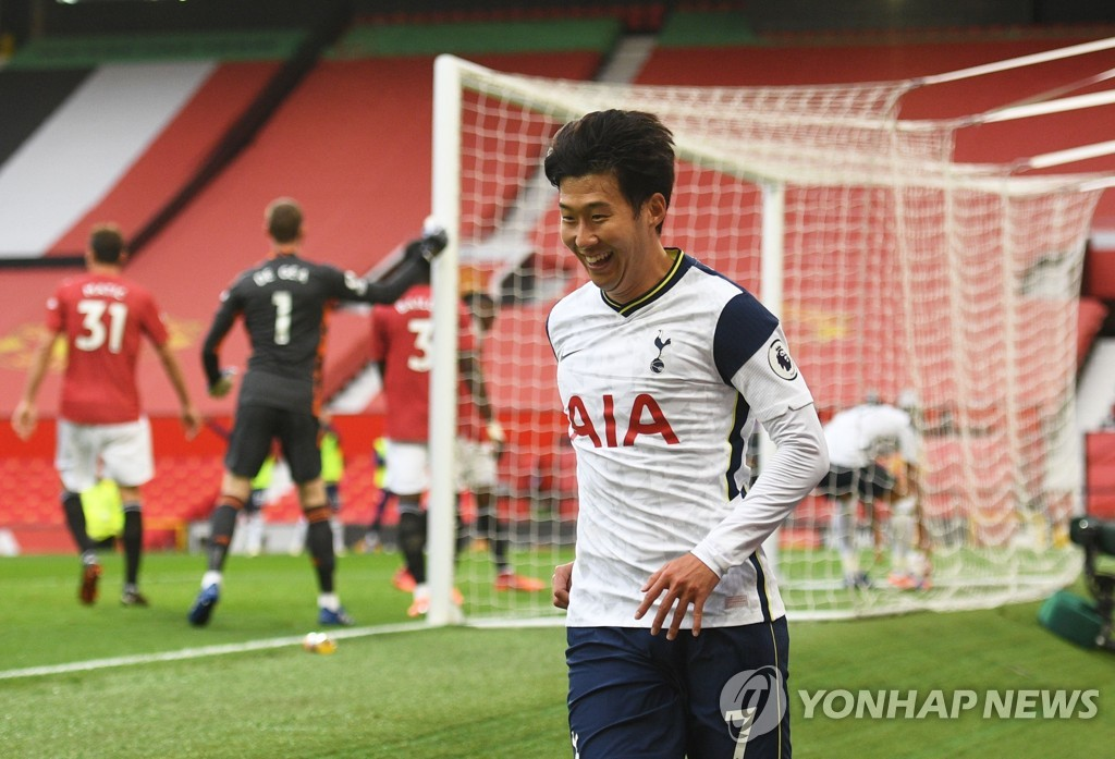 In this Reuters file photo from Oct. 4, 2020, Son Heung-min of Tottenham Hotspur celebrates his goal against Manchester during the clubs' Premier League match at Old Trafford in Manchester, England. (Yonhap)