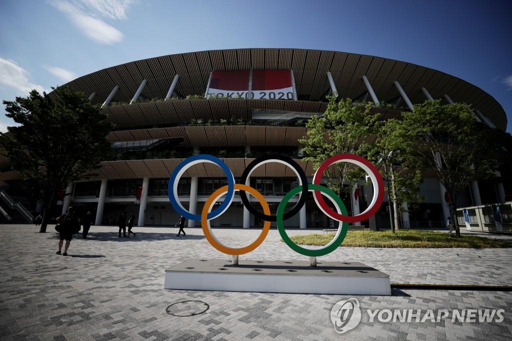 개회식을 목전에 두고 있음에도 썰렁한 도쿄올림픽 메인스타디움[로이터=연합뉴스]