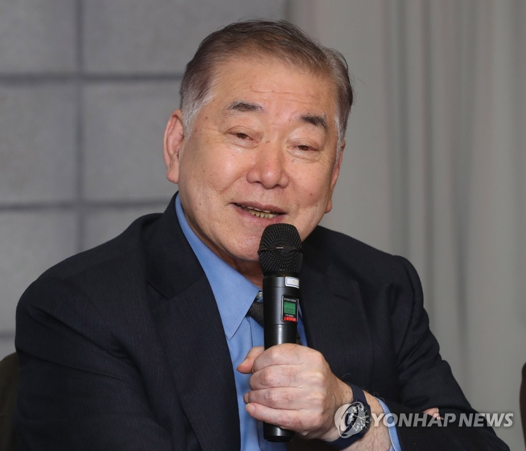 In this file photo taken on Nov. 29, 2018, Moon Chung-in, a special presidential adviser for unification, foreign and security affairs, speaks during a seminar in Seoul. (Yonhap)