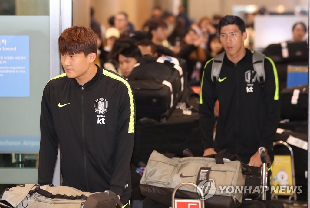 South Korea national football team players arrive at Incheon International Airport on Jan. 28, 2019, after performing at the 2019 AFC Asian Cup in the United Arab Emirates. (Yonhap)