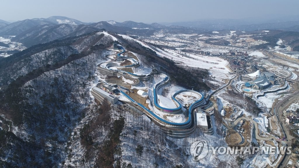 This photo provided by the sports ministry on Feb. 6, 2019, shows an aerial view of the Olympic Sliding Centre in PyeongChang, 180 kilometers east of Seoul. (PHOTO NOT FOR SALE) (Yonhap)