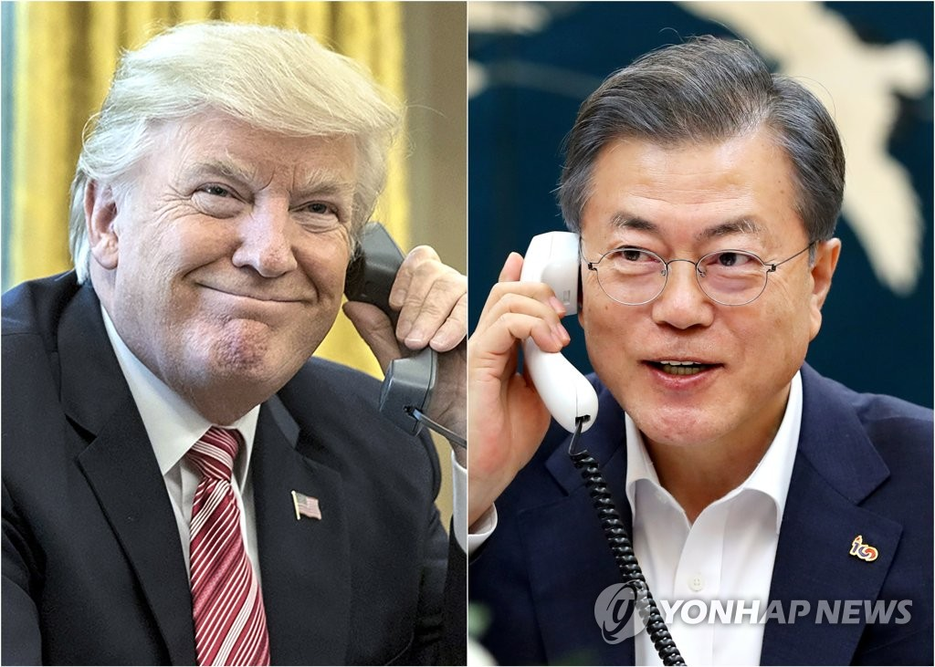This compilation image shows South Korean President Moon Jae-in (R, photo provided by Cheong Wa Dae) and U.S. President Donald Trump. (Yonhap)