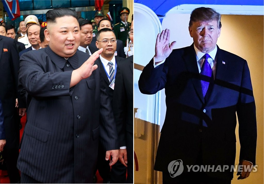 These AFP and VNA photos show U.S. President Donald Trump (R) and North Korean leader Kim Jong-un waving as they arrive in Vietnam on Feb. 26, 2019. The two are to start their two-day summit on Pyongyang's denuclearization in Hanoi later on Feb. 27. (Yonhap)