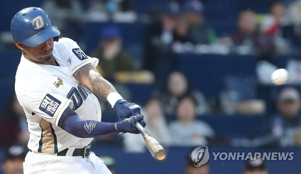 Christian Bethancourt of the NC Dinos hits a triple against the Hanwha Eagles in the bottom of the first inning of a Korea Baseball Organization preseason game at Changwon NC Park in Changwon, 400 kilometers southeast of Seoul, on March 19, 2019. (Yonhap)