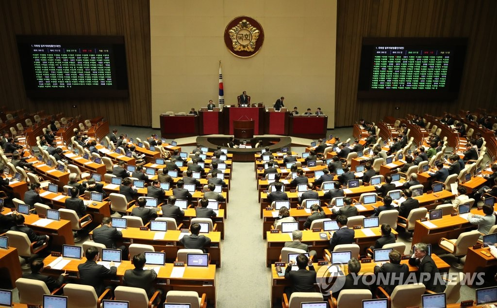 The National Assembly passes a motion to ratify South Korea's defense cost deal with the United States and key bills on April 5, 2019. (Yonhap)