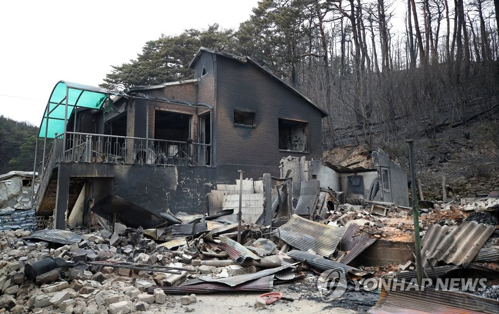 This photo, taken April 6, 2019, shows a house badly damaged by a blaze in Goseong, about 160 kilometers northeast of Seoul. (Yonhap)