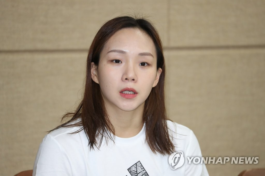 In this file photo from May 21, 2019, South Korean swimmer Kim Seo-yeong speaks at a press conference after the national team trials at Gimcheon Indoor Swimming Pool in Gimcheon, 230 kilometers southeast of Seoul. (Yonhap)