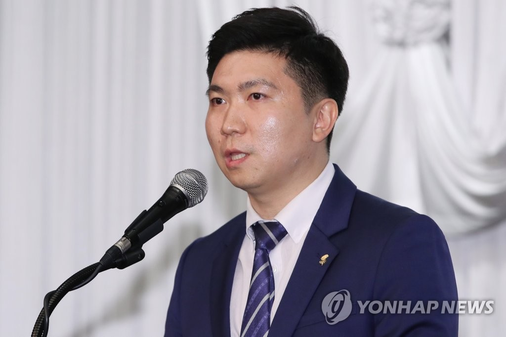 In this file photo from May 31, 2019, International Olympic Committee member Ryu Seung-min speaks after being elected president of the Korea Table Tennis Association after a vote at Olympic Parktel in Seoul. (Yonhap)