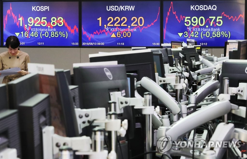 This photo shows a trading room at KEB Hana Bank in Seoul on Aug. 13, 2019. (Yonhap)