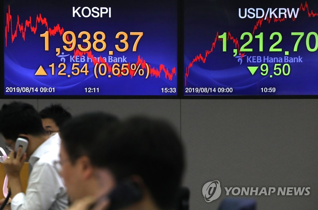 This photo shows a trading room at KEB Hana Bank in Seoul on Aug. 14, 2019. (Yonhap)