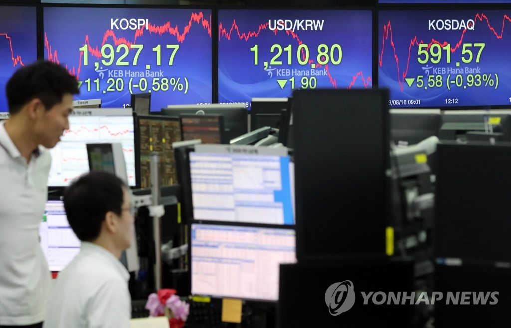 This photo shows a trading room at KEB Hana Bank in Seoul on Aug. 16, 2019. (Yonhap