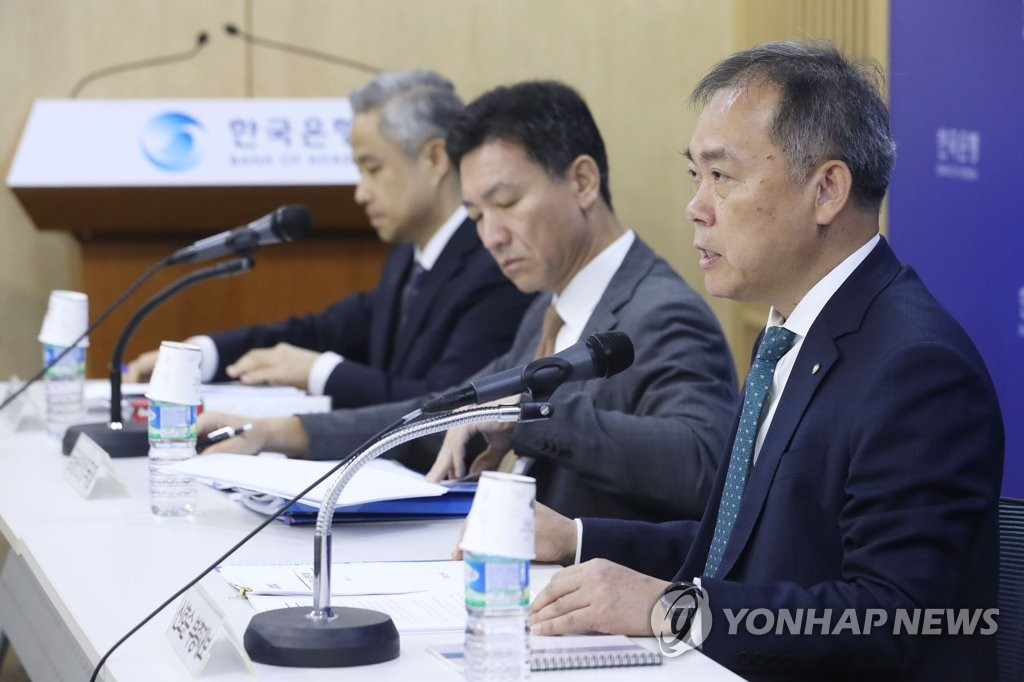 Bank of Korea Deputy Gov. Shin Ho-soon (R) speaks in a press conference at the South Korean central bank in Seoul on Sept. 26, 2019, on the bank's latest financial stability report. (Yonhap)