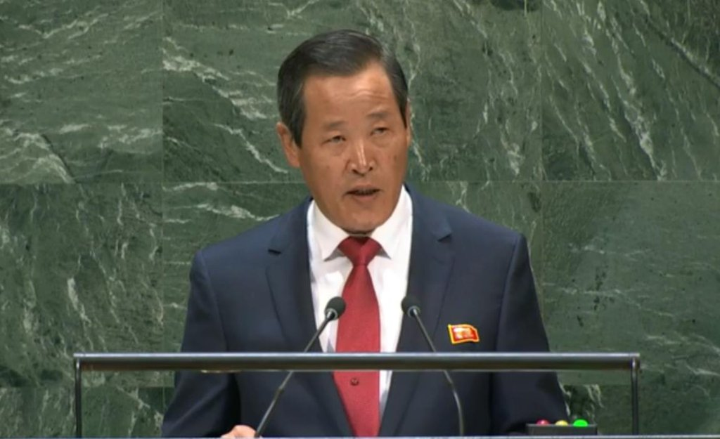 In the photo captured from U.N. Web TV on Sept. 30, 2019, North Korean Ambassador to the United Nations Kim Song gives an address to the U.N. General Assembly in New York. Kim urged the United States to come to denuclearization talks with a new proposal acceptable to Pyongyang. (PHOTO NOT FOR SALE) (Yonhap)