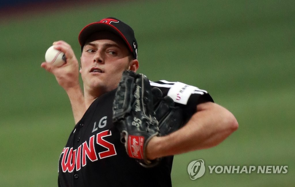 In this file photo from Oct. 6, 2019, Tyler Wilson of the LG Twins pitches against the Kiwoom Heroes in a Korea Baseball Organization postseason game at Gocheok Sky Dome in Seoul. (Yonhap)