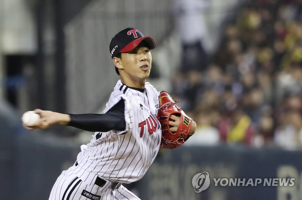 In this file photo from Oct. 10, 2019, Jung Woo-young of the LG Twins pitches against the Kiwoom Heroes in the top of the eighth inning of Game 4 of the Korea Baseball Organization first-round playoff series at Jamsil Stadium in Seoul. (Yonhap)